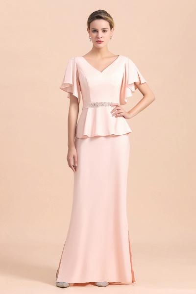 Glamorous V-Neck Beadings Sash Pink Mother of Bride Dresses_4