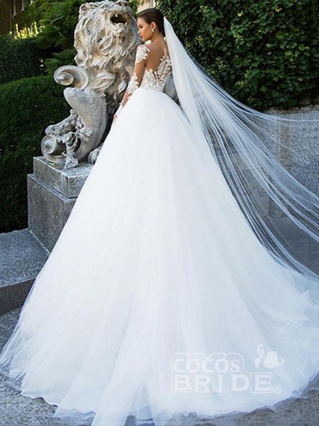 Long Sleeves Lace Ball Gown Tulle Wedding Dresses_2