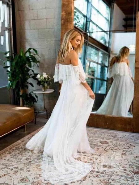 Casual Lace Beach Flowy A-Line Wedding Dresses_2