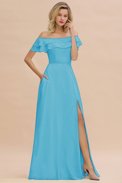 BM0775 Off-the-Shoulder Front Slit Mint Green Long Bridesmaid Dress_24