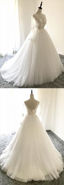 White Tulle 3D Lace Applique Open Back Long Wedding Dress_2