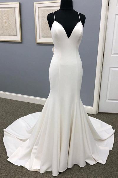 Ivory Satin Spaghetti Straps Open Back Sweet Train Wedding Dress_1