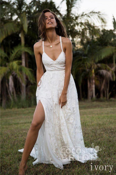 A Line Floor Length Split Beach Lace Wedding Dress_3