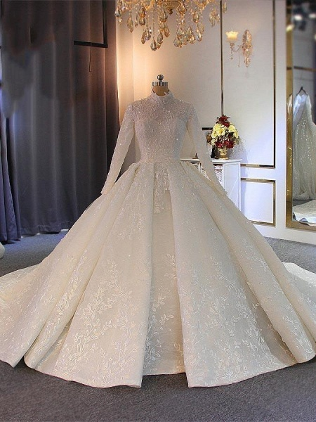 Exquisite High Collar Lace-Up Wedding Dresses with Long Sleeves_1