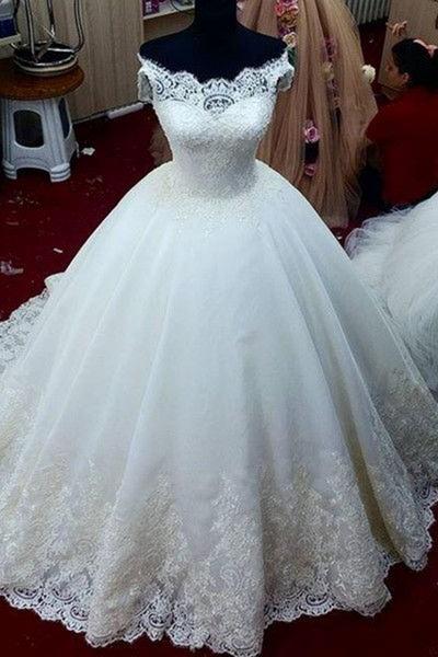Lace Applique Off-Shoulder A-Line Ball Gown Wedding Dresses_1