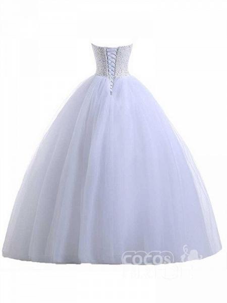 Glamorous Sweetheart Beaded Ball Gown Tulle Wedding Dresses_2