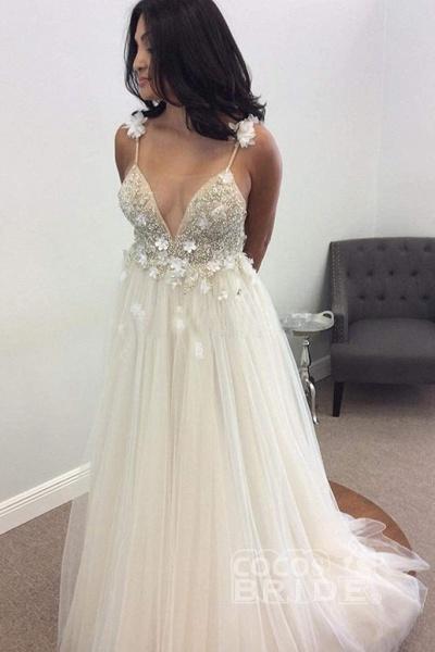 Deep V-neck Beading Straps Tulle Appliques A-line Custom Beach Wedding Dress_9
