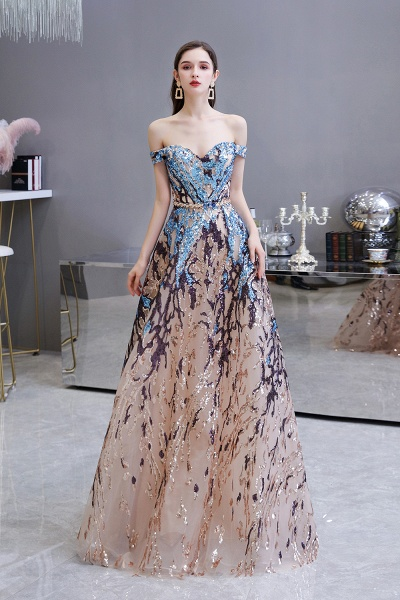 Off-the-Shoulder Sequins Long Multi-Color Prom Dress_2