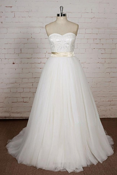 White Lace Tulle A Line Simple Wedding Dress_1