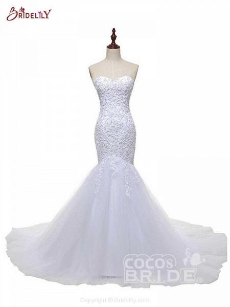 Fashion Sweetheart Mermaid Tulle Wedding Dresses_4