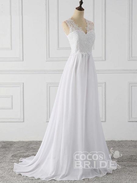 Elegant V-Neck Sleeveless Covered Button Ruffles Wedding Dresses_4