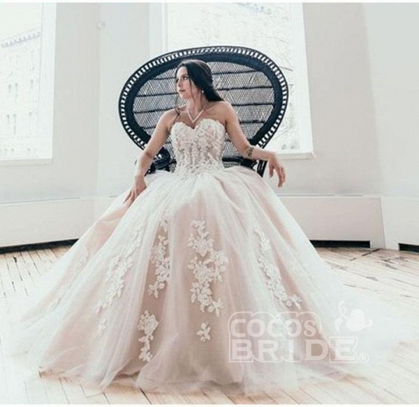 Floor Length Sweetheart Tulle Wedding with Lace Appliques Long Dress_3