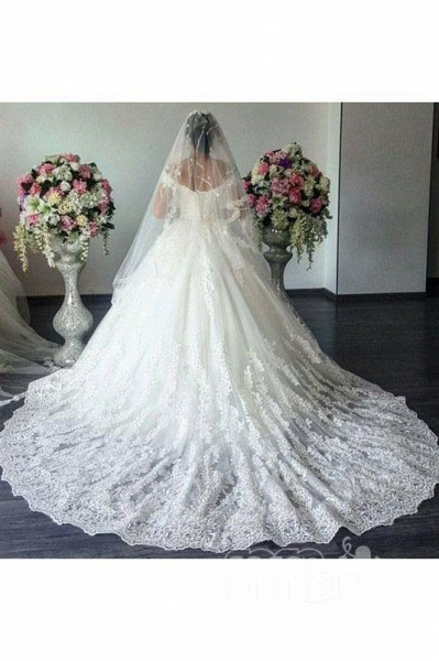 New Off The Shoulder Ivory Tulle Applique Sweep Train Wedding Dress_2