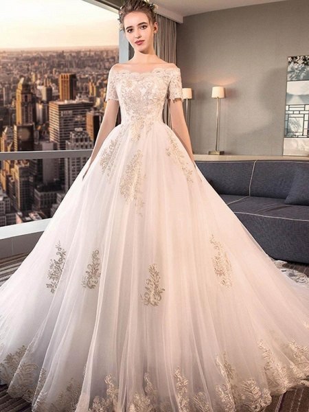Elegant Off-the-Shoulder Lace Ball Gown Wedding Dresses_1