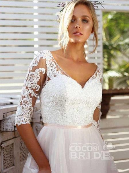 Gorgeous V Neck Long Sleeves Tulle Wedding Dresses_4