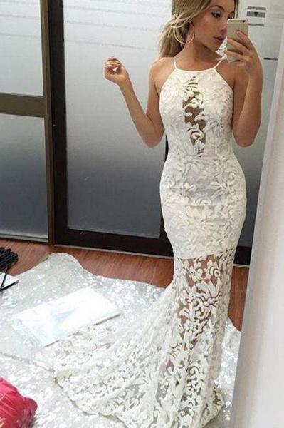 Charming Mermaid Brush Train Sexy Ivory Wedding Dres_1