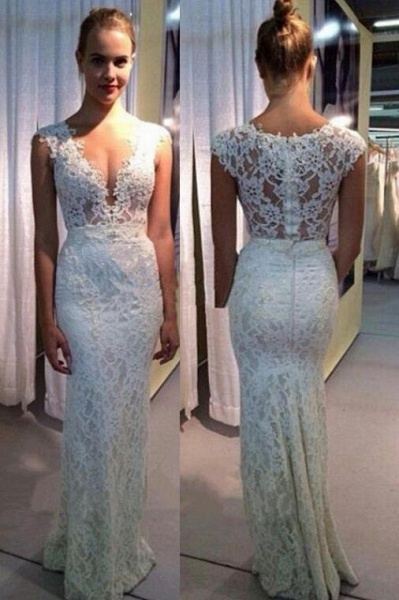 V-neck Mermaid Lace Sleeveless Gown Ivory Sexy Beach Wedding Dress_1