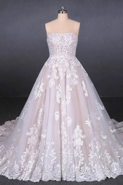 Puffy Strapless Tulle with Appliques Long Train Lace Up Wedding Dress_1