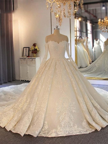 Sweetheart long sleeves Full Lace Beading Wedding Dresses_1