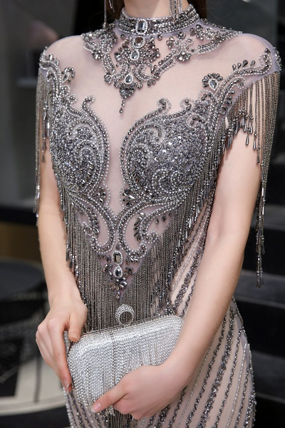 High Neck Cap sleeves Sparkle Beads Long Prom Dresses_12