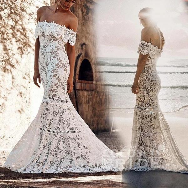 Charming Off the Shoulder Lace Boho Beach Wedding Dress_3