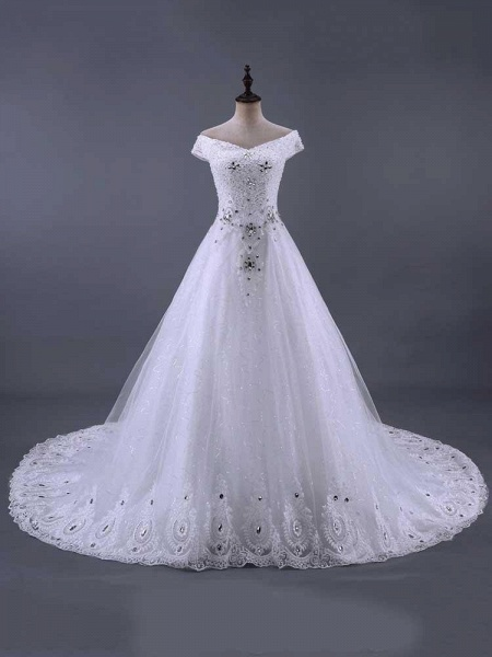 Glamorous Lace-up Beaded Ball Gown Wedding Dresses_1