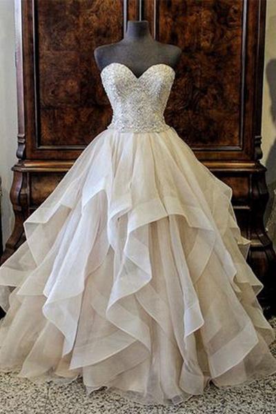 Sweetheart Creamy Tulle Customize Long Wedding Dress_1