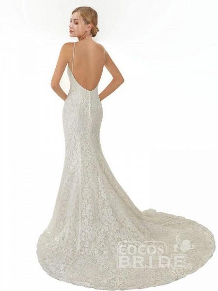 Elegant Spaghetti Strap Sleeveless Lace Mermaid Wedding Dresses_2