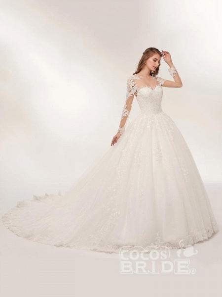 Elegant Long Sleeves Lace Appliques Wedding Dresses_2