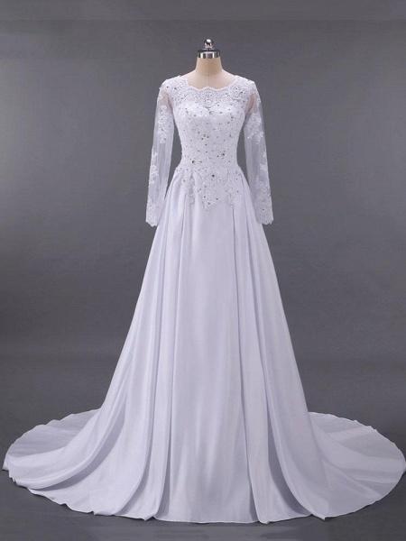 Long Sleeves Beaded Zipper Sweep Train Wedding Dresses_1