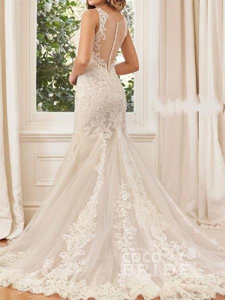 Unique Lace Appliques Mermaid Wedding Dresses_2