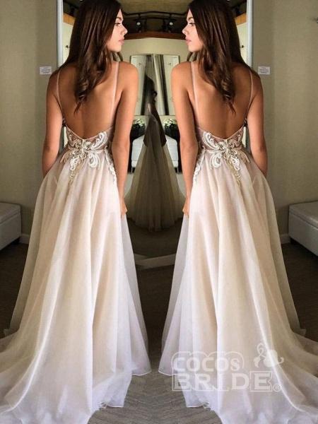 Deep V-neck Spaghetti Straps Lace Appliqued Beach Wedding Dress_2