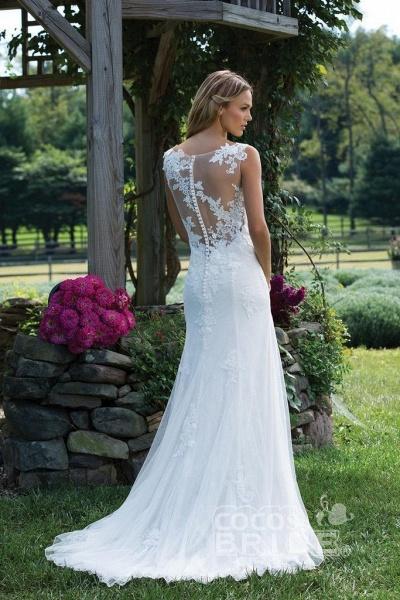 Vintage V Neck Sleeveless Tulle Appliqued Wedding Dress_2