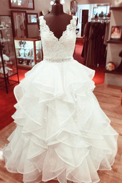White Tulle Lace V-Neck A-Line Long Lace Wedding Dress_1