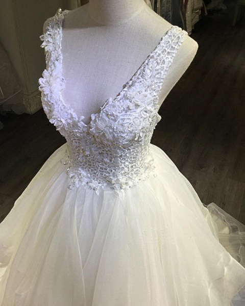 White Lace Open Back Long Pageant Lace Layered Wedding Dress_3