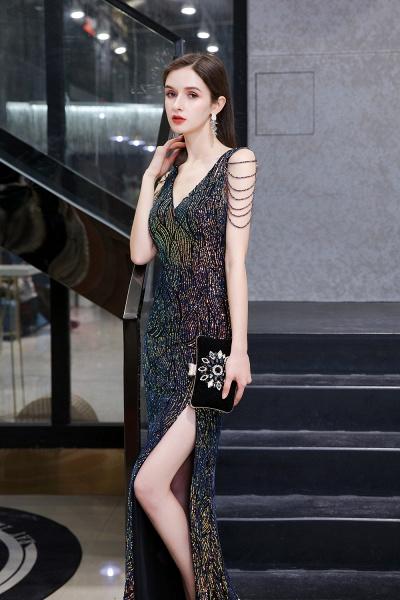 V-Neck Sequins Long Evening Dress With Split_9