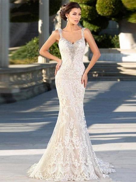 Gorgeous Backless Lace Appliques Mermaid Wedding Dresses_1