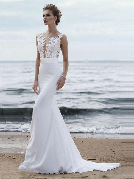 Elegant Appliques Lace Mermaid Wedding Dresses_1