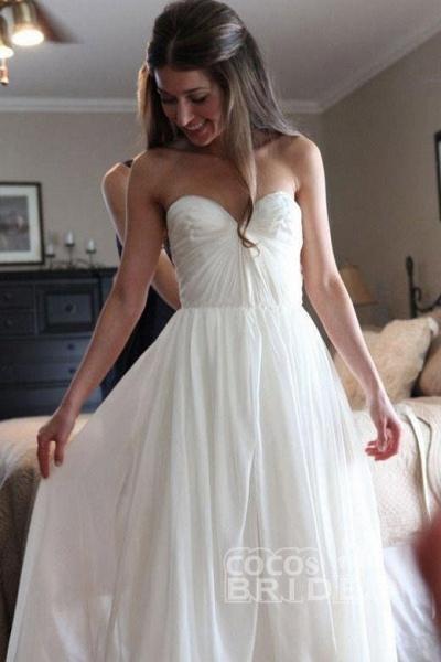 Floor Length Sweetheart Chiffon Boho Long Beach Wedding Dress_2