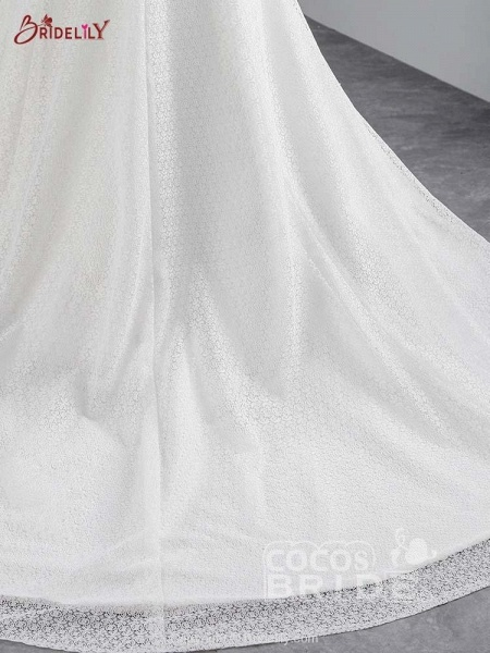 Cap Sleeves Lace-up Mermaid Wedding Dresses_5