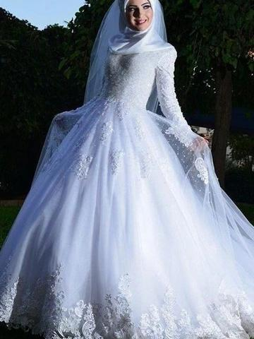 Popular Long Sleeve Lace Applique Sheer Tulle A-line Wedding Dresses_1