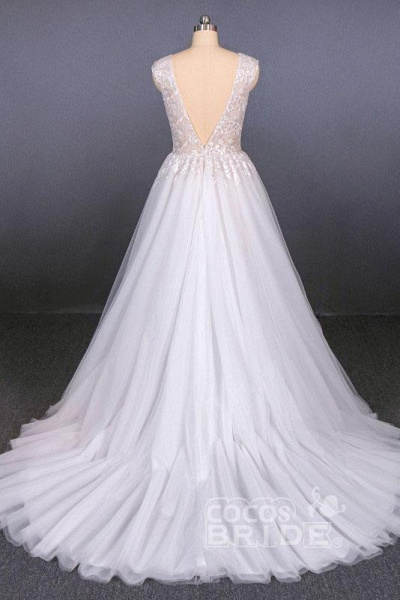 Sexy V Neck Tulle with Lace Appliques A Line Backless Wedding Dress_2