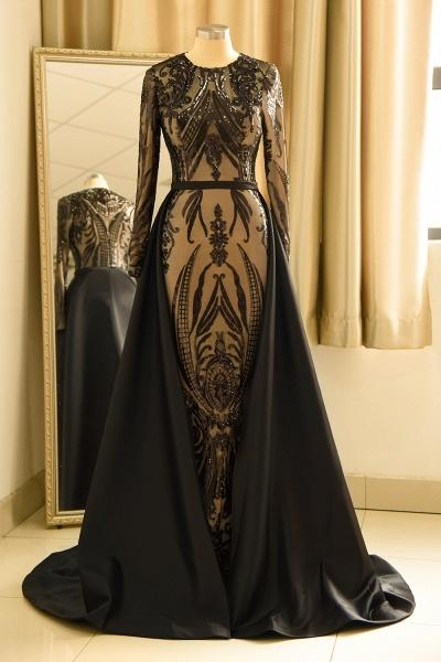 Luxury Black Round neck Sequined Detachable Overskirt Prom Dress_1