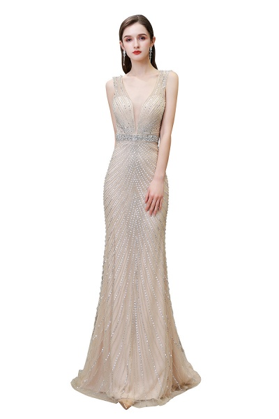 Sexy Mermaid V-neck Silver Long Prom Dress_1