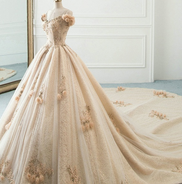 Princess Champagne Lace Off Shoulder Court Train Beaded Wedding Dress_5
