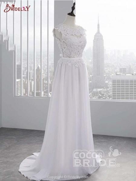 Lace Appliques Covered Button A-Line Wedding Dresses_2