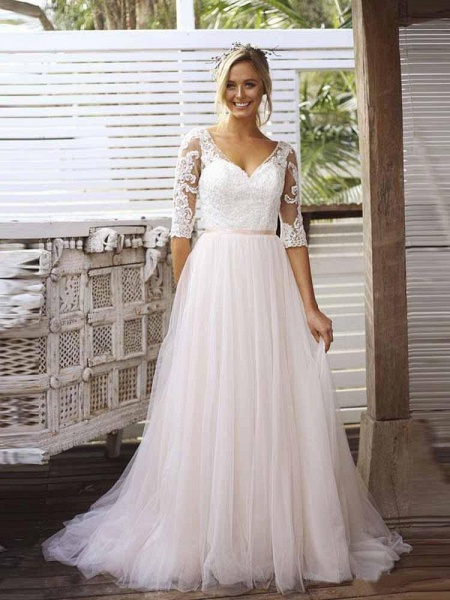 Gorgeous V Neck Long Sleeves Tulle Wedding Dresses_1