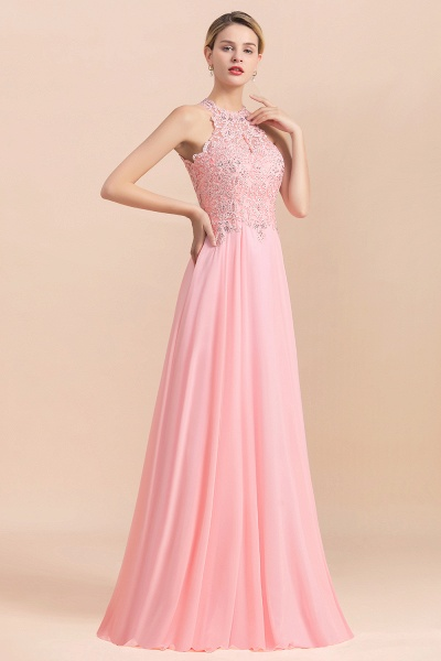 Pears Crystal A Line Halter Wedding Dresses Lace Wedding Gowns_4