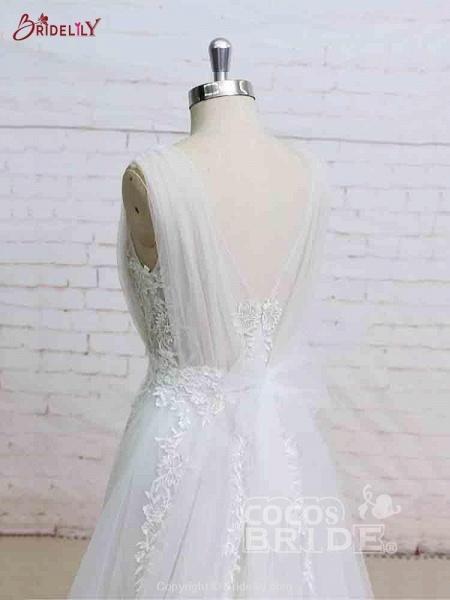 Glamorous V-Neck Backless Floor-Length Wedding Dresses_4