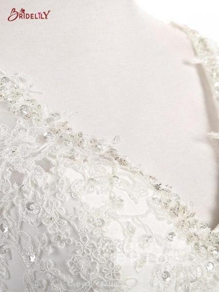 Elegant V Neck Lace Chiffon A-Line Wedding Dresses_5